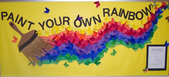 paint your own rainbow inspirational bulletin board idea supplyme