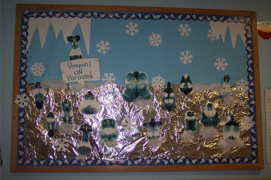 Winter Penguin Bulletin Board Idea