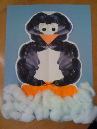 penguin inkblot painting