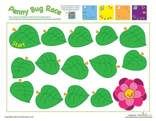 Spring and Summer Math Game Preschool Printable