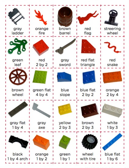 LEGO Bingo and Scavenger Hunt Game Preschool Printable and Lesson Plan
