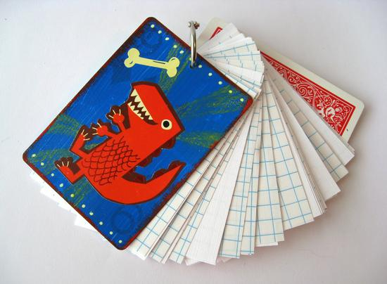 homemade playing card notebook