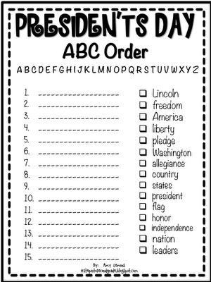 President's Day ABC Order Printable - SupplyMe