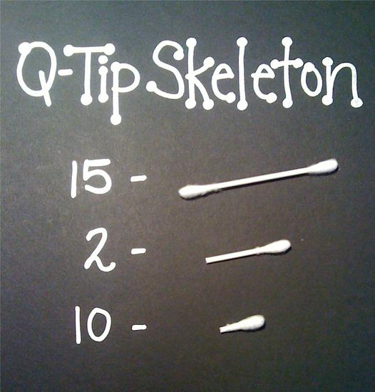 q-tip pieces needed to create a skeleton