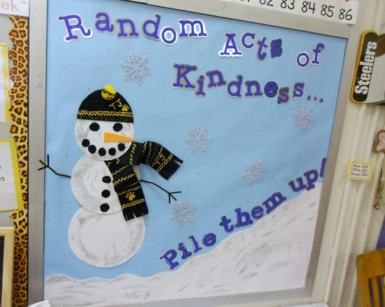 Random Acts Of Kindness Pile Them Up Winter Bulletin Board Supplyme