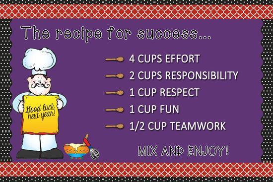 Recipe for Success    - End of the Year Bulletin Board