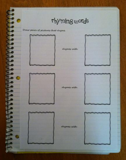 Rhyming Word Literacy Kindergarten Journal Prompt