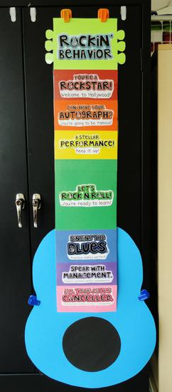 Rock Star Themed Classroom Behavior Management Clip System