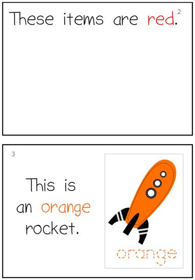 example rocket themed interactive emergent reader color book