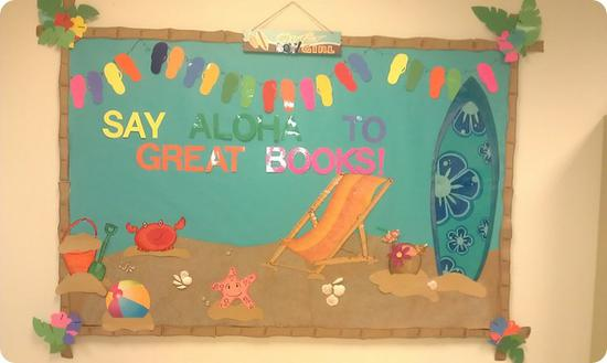 Luau Themed Library and Classroom Bulletin Board Idea