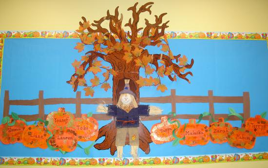 Pumpkins and Scarecrow Fall Bulletin Board Idea
