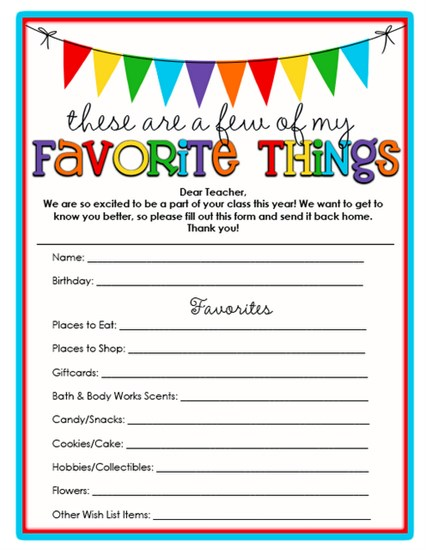 image about Teacher Favorite Things Printable called A Number of of Your - Lecturers - Beloved Components! SupplyMe
