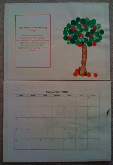 september calendar page with fingerprint apple tree and school poem