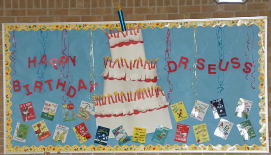 Amazing Happy Birthday Dr Seuss Classroom Bulletin Board Idea Supplyme Birthday Cards Printable Nowaargucafe Filternl