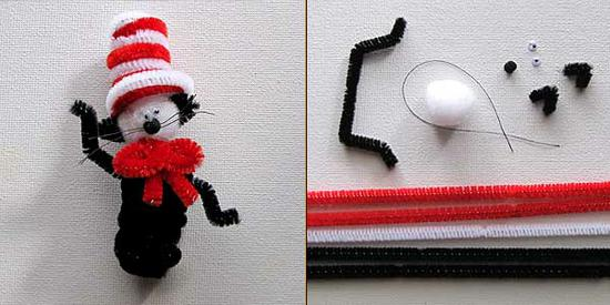 chenille stem cat in the hat finger puppets