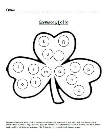 St. Patrick's Day Alphabet Game and Preschool Printable
