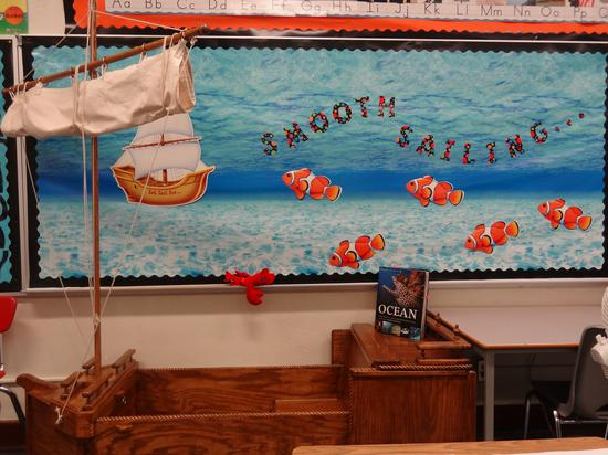 Smooth Sailing Ocean Themed Classroom Bulletin Board