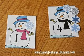 Winter Snowman Number Recognition and Counting Game Preschool Printables