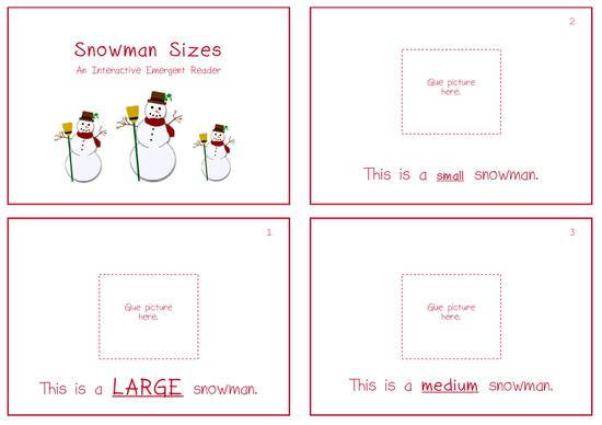 example snowman themed interactive emergent reader book about sizes