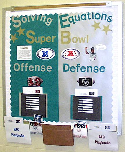 Solving Equations: Super Bowl Interactive Bulletin Board