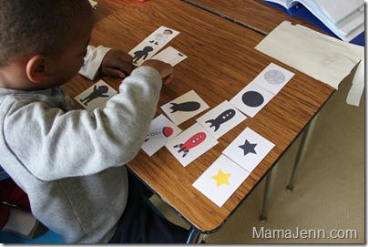 a is for astronaut rocket silhouette matching game math kindergarten lesson