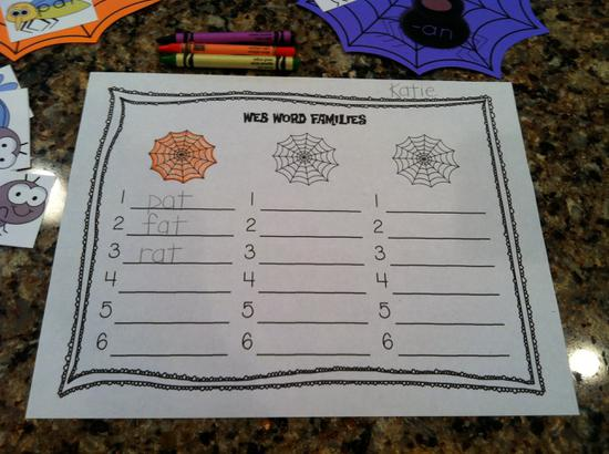 Halloween Word Family Printables and Kindergarten Lesson Plan