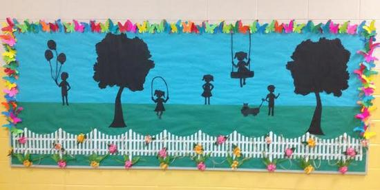 Spring Silhouettes And Shadows >> Spring Silhouettes Bulletin Board Idea Supplyme