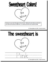 February and Valentine's Day Colors and Math Preschool Printables
