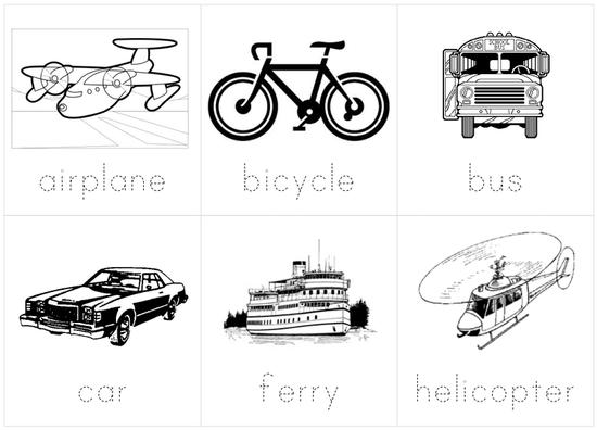example vehicle flash cards