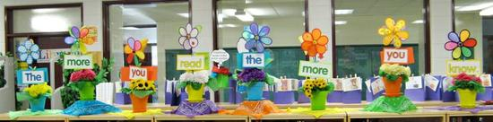 Spring and Reading Elementary Classroom or Library Bulletin Board Idea