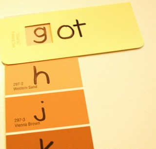 homemade word family game made from recycled paint chips