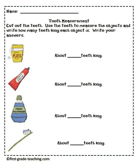 tooth measuring activity for dental health unit