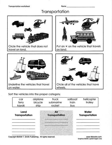 transportation-themed grouping worksheet
