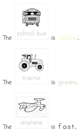 sample simple sentences with transportation flash cards and adjectives