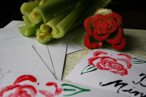 Valentine's Day Vegetable Stamping Craft for Kids