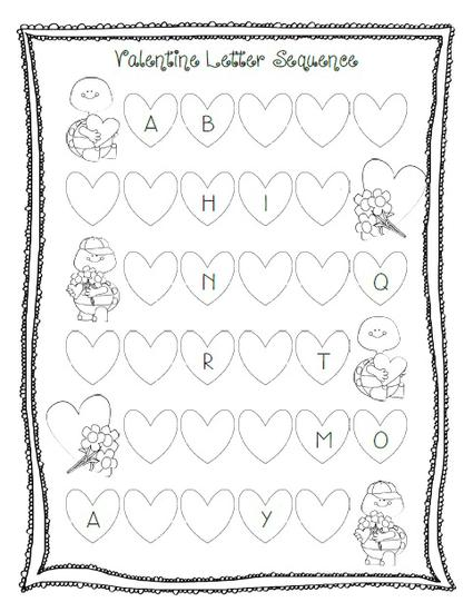 Valentine's Day Letter Sequencing Worksheet