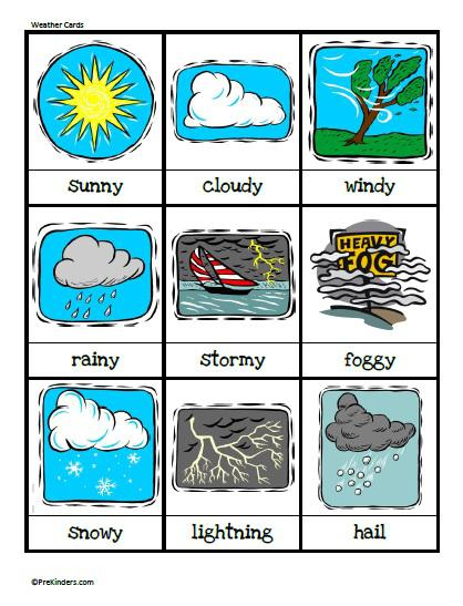 printable weather cards for preschool