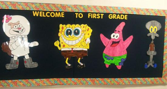 Cartoon Themed Back To School Bulletin Board Idea