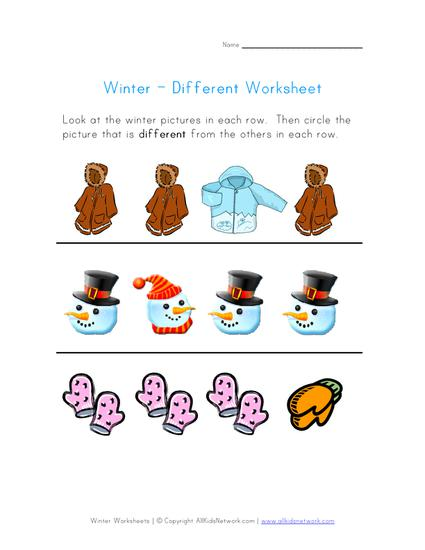 find the winter object that is different preschool printable