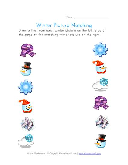 match winter objects preschool printable