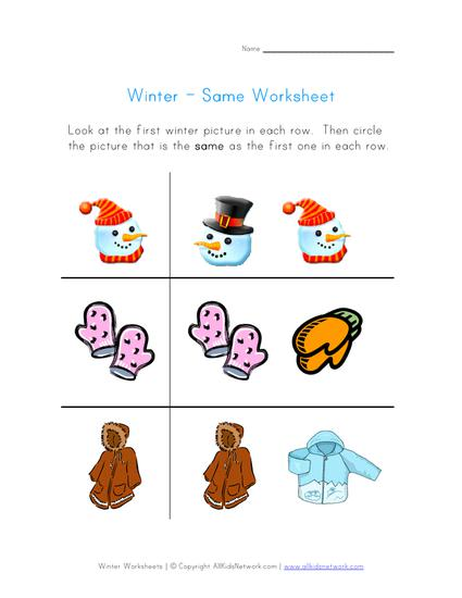 chose the winter object that is the same preschool printable