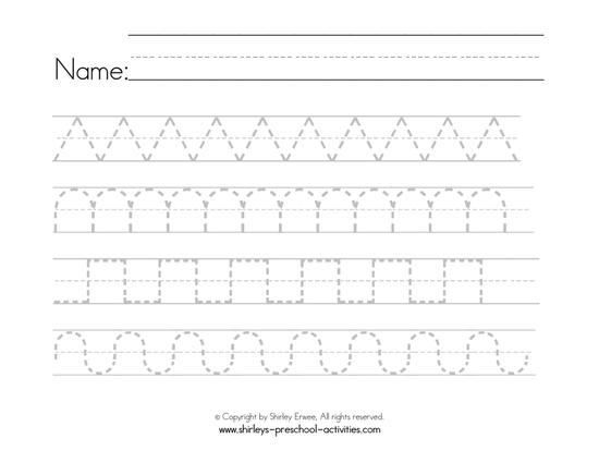 worksheet with zig zags, waves and other patterned lines for pre-writing practice