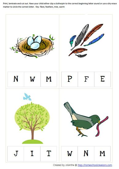 Spring Bird Literacy Beginning Letter Sound Preschool Printable