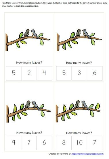 Spring Bird Math Counting Preschool Printable