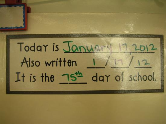 Today's Date for Daily Review with Calendar Math