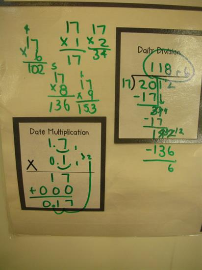 Multiplication and Division for Daily Review with Calendar Math