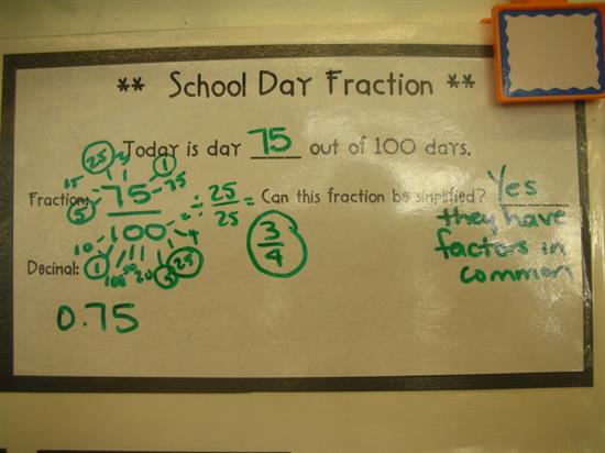 School Day Fraction for Daily Review with Calendar Math