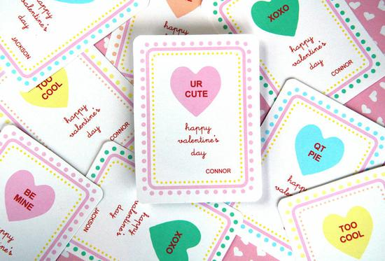 conversation heart themed printable valentines