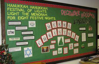 Hanukkah, Christmas, and Kwanzaa Bulletin Board Idea