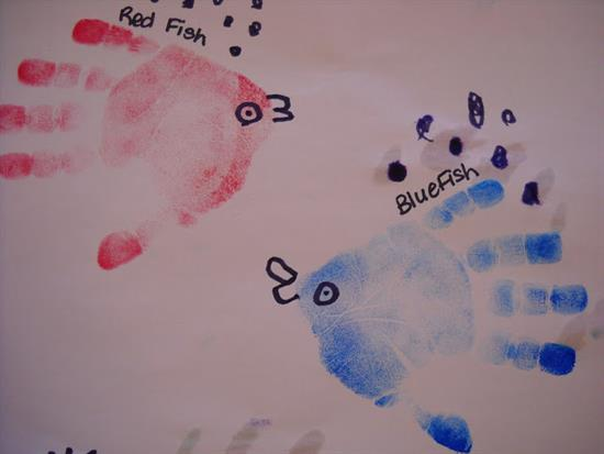 Handprint Craft Featuring Red Fish Blue Fish